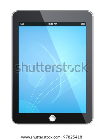 Tablet Pad. Tablet pad with Blue Screen. Isolated - stock photo