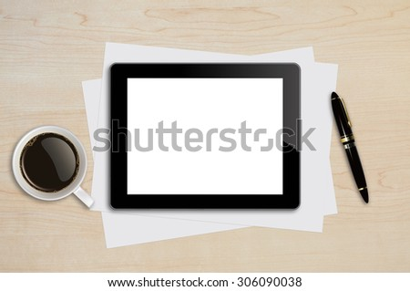 Tablet ,Page,Pen,Coffee Cup on wood table background texture with copy space and text space - stock photo