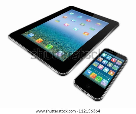 tablet pc and a mobile phone - stock photo