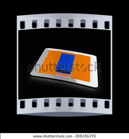 tablet pc and book on black background. The film strip - stock photo