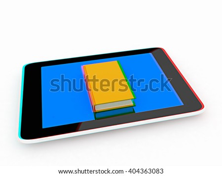 tablet pc and book on white background. 3D illustration. Anaglyph. View with red/cyan glasses to see in 3D.