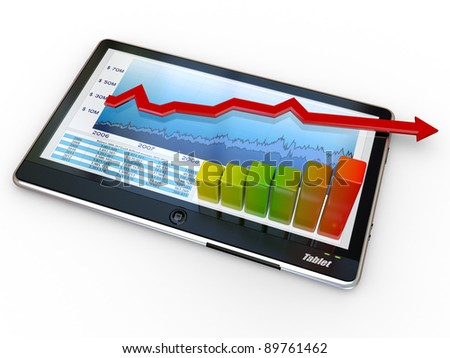 Tablet pc and business graph on the screen. 3d - stock photo