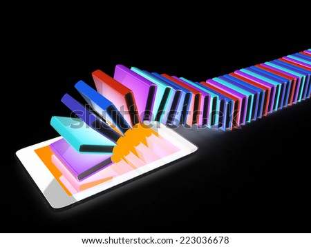 tablet pc and colorful real books on black background - stock photo