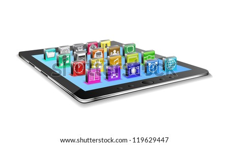 Tablet pc and different icons are shown in the image.