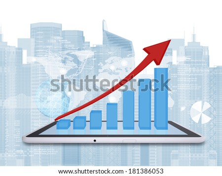 Tablet pc and growth chart on screen tablet. World map, skyscrapers, globe and graphs on background