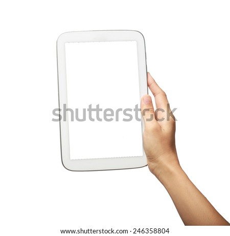 tablet pc and hand hoilding isolated on white background  - stock photo