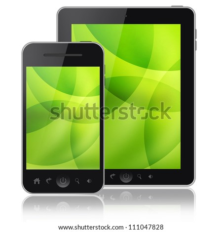 Tablet pc and mobiel phone isolated on white background - stock photo