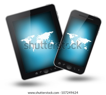 Tablet pc and mobile phone isolated on white background