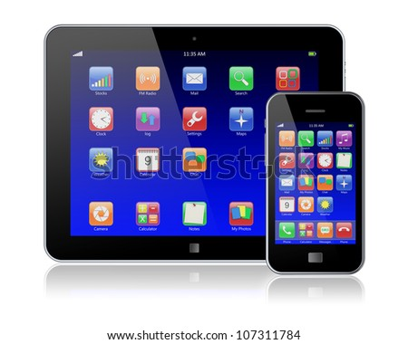 Tablet PC and mobile phone with blue touchscreen and colorful apps . Isolated on a white. 3d image
