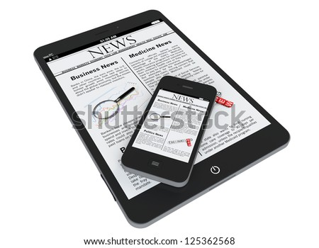 Tablet PC and mobile phone with news on a white background