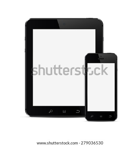 Tablet PC and mobile smartphone with blank screen - stock photo