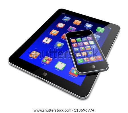 Tablet PC and mobile smartphone with blue touchscreen and colorful apps . Isolated on a white. 3d image - stock photo