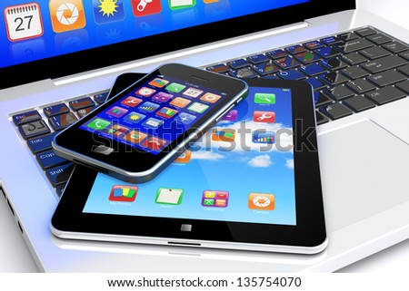 Tablet PC and mobile smartphone with colorful apps on a screen lying on laptop keyboard. Technology 3d concept	 - stock photo