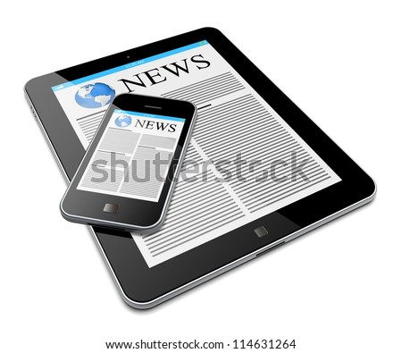 Tablet PC and mobile smartphone with news on a screen. Isolated on a white. 3d image