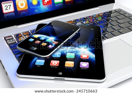 Tablet PC and mobile smartphone with space dawn wallpaper and apps on a screen. Technology 3d concept