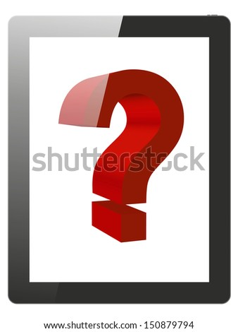 Tablet PC and question mark, white background