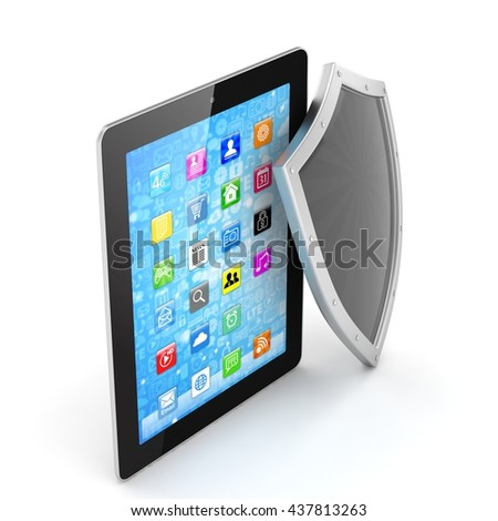Tablet PC and shield on white device security concept. 3d rendering.