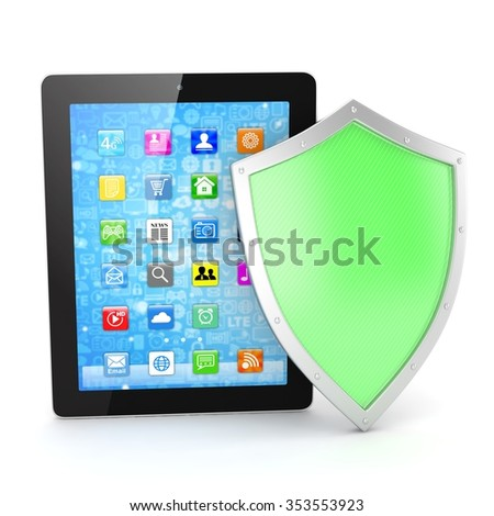 Tablet PC and shield on whute device security concept