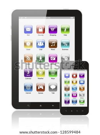 Tablet pc and smart phone with icons on white background - stock photo