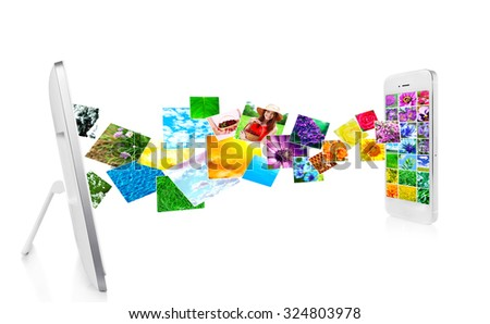 Tablet-pc and smartphone with streaming images, isolated on white - stock photo