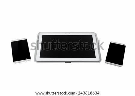 Tablet PC and smartphones isolated on white background