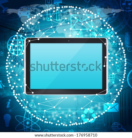 Tablet PC and sphere consisting of connections. The concept connections