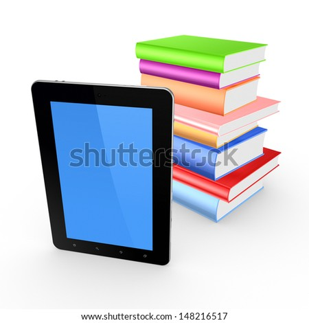 Tablet PC and stack of books.Isolated on white.3d rendered.
