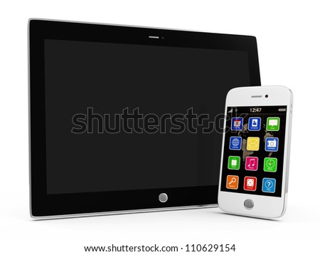 Tablet PC and White Smartphone isolated on white background - stock photo