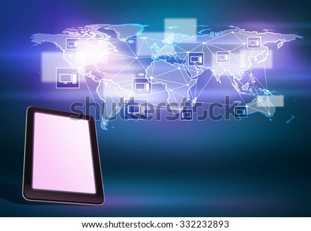 Tablet pc and world map digital image on color background