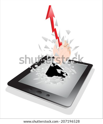 Tablet pc broken glass screen. A hand with a with red arrow going up from a tablet pc as an online concept. - stock photo