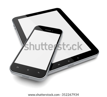 Tablet PC computer and mobile phone with blank screen - stock photo
