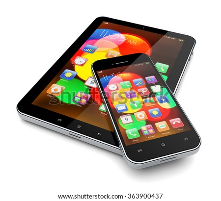 Tablet PC computer and mobile phone with colorful bokeh wallpaper and apps on a screen