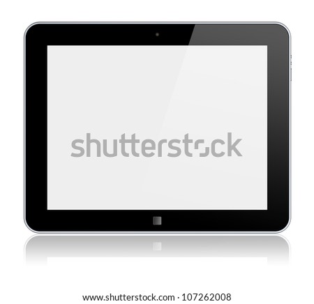 Tablet PC computer with blank screen. Isolated on a white. 3d image
