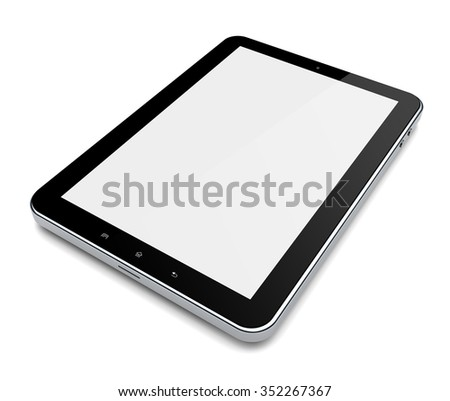 Tablet PC computer with blank screen on a white background