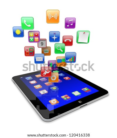 Tablet pc computer with blue screen and  software apps icons . Media technology concept.  3d image