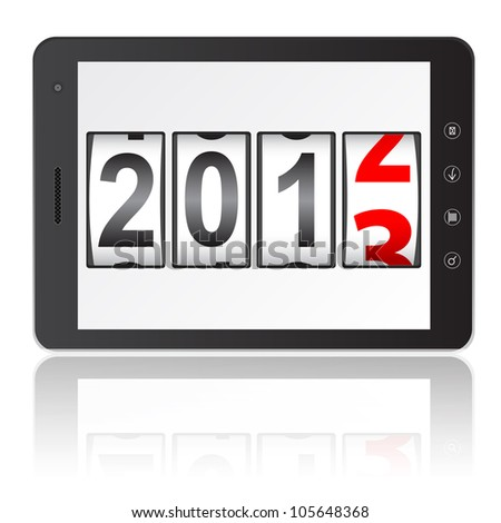 Tablet PC computer with 2013 New Year counter isolated on white background.   illustration.