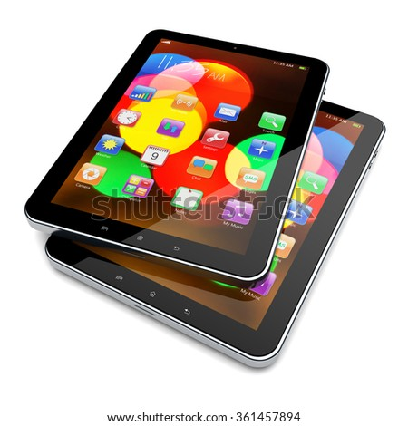 Tablet PC computers with colorful bokeh wallpaper and apps on a screen