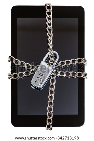 tablet pc fettered by chain and closed by combination lock isolated on white background