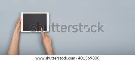 Tablet pc hero header image - stock photo
