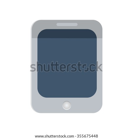Tablet PC icon on white background, illustration. Flat design style.