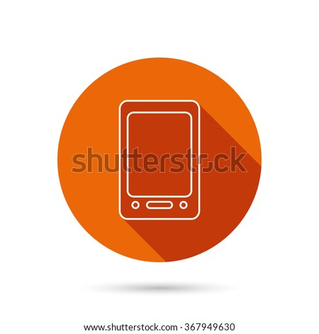 Tablet PC icon. Touchscreen pad sign. Round orange web button with shadow. - stock photo