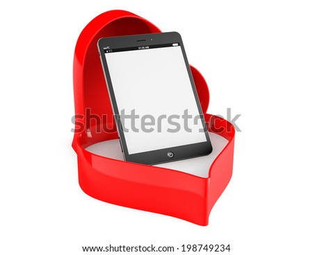 Tablet PC in a Heart valentine box on a white background