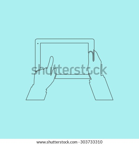 Tablet PC in human hands. Outline simple flat icon isolated on blue background