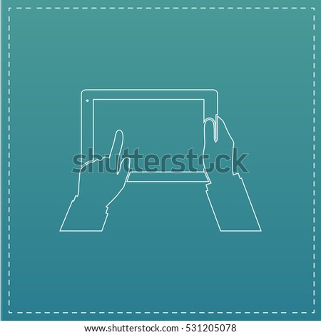 Tablet PC in human hands. White outline simple pictogram on blue background. Line icon