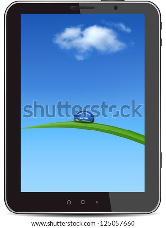 Tablet PC, isolated on background white. Raster Version. - stock photo