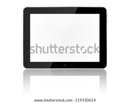 Tablet pc isolated on white background. Illustration.