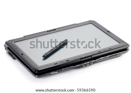 Tablet PC isolated on white with stylus on the screen