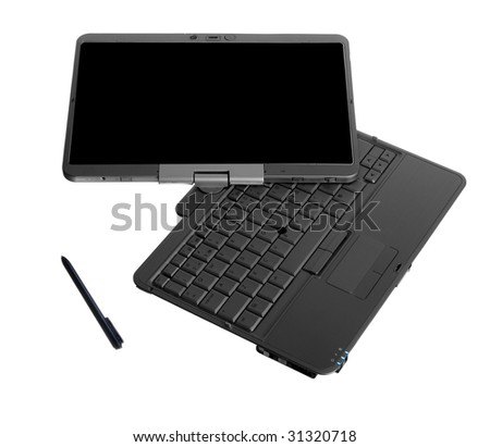 Tablet PC laptop isolated on white background - stock photo