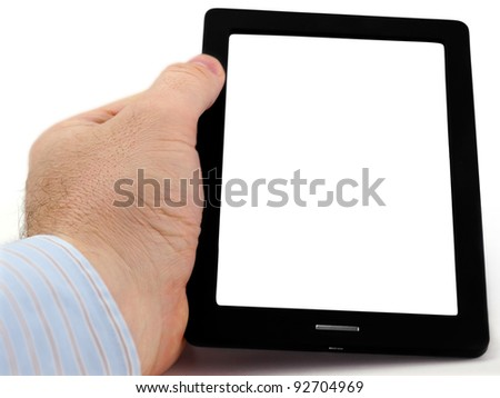 Tablet-PC. Male hand holding tablet pc with blank screen on the white background - stock photo