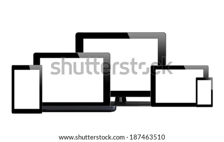 Tablet pc, mobile phone and computer isolated on white background